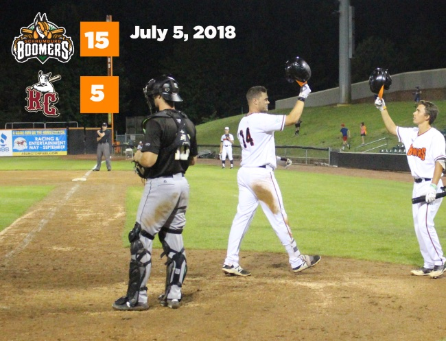 Seven-Run Second Propels Boomers to Series Win