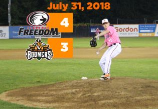 Boomers Edged in Series Opener
