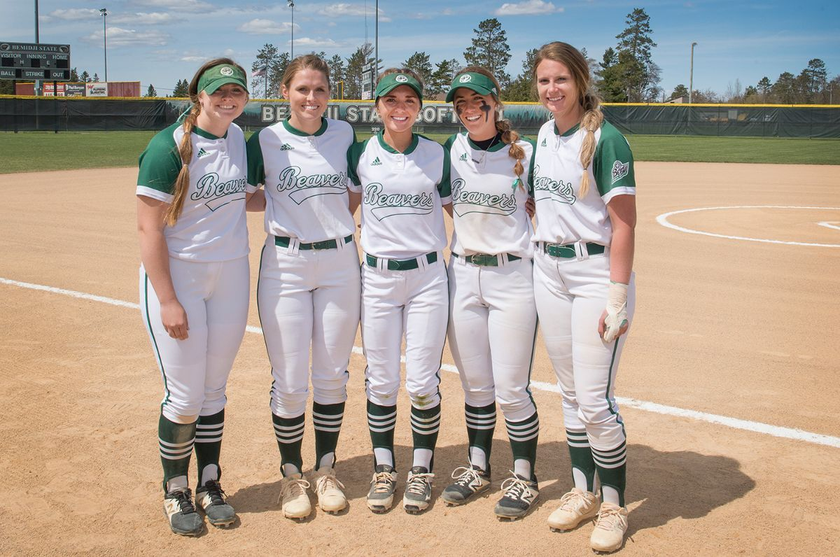 Softball honors its five seniors during doubleheader with Minot State