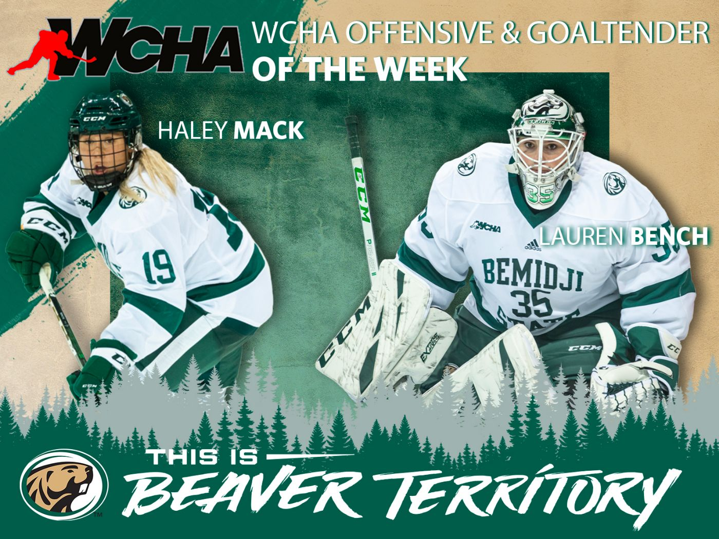 Mack and Bench earn weekly accolades from WCHA