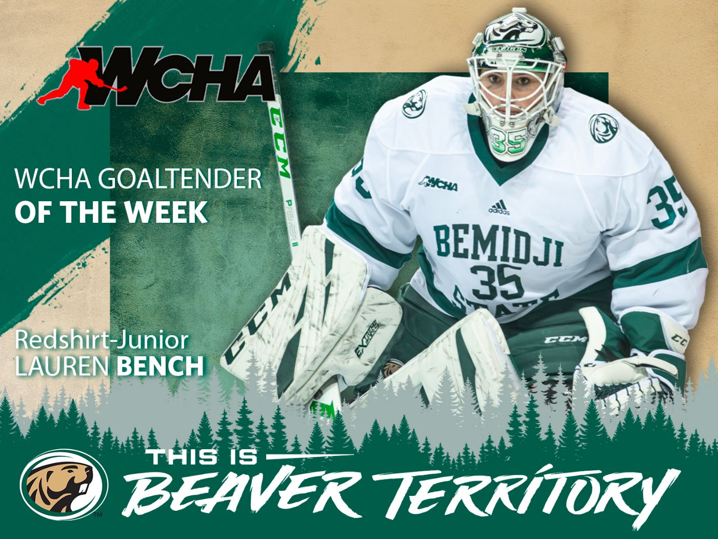 Bench tabbed as WCHA Goaltender of the Week
