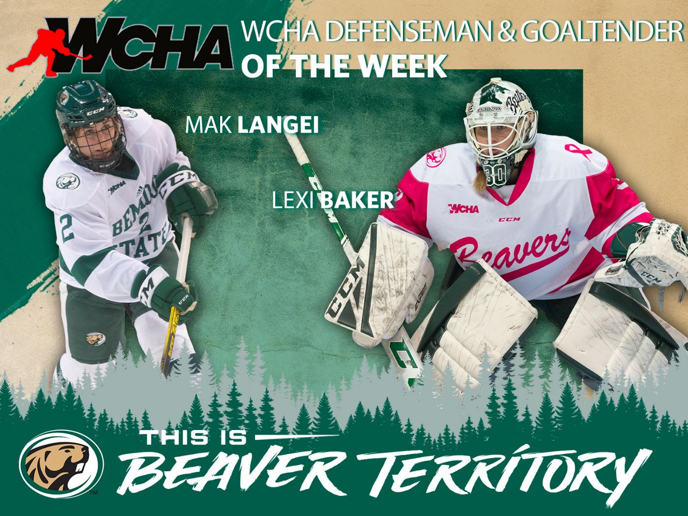 Langei and Baker tabbed as WCHA Players of the Week