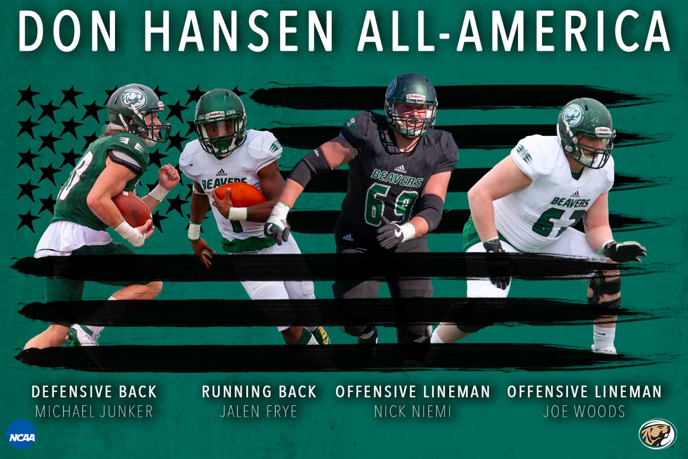Four Beavers selected to 2019 Don Hansen Division II All-America Team