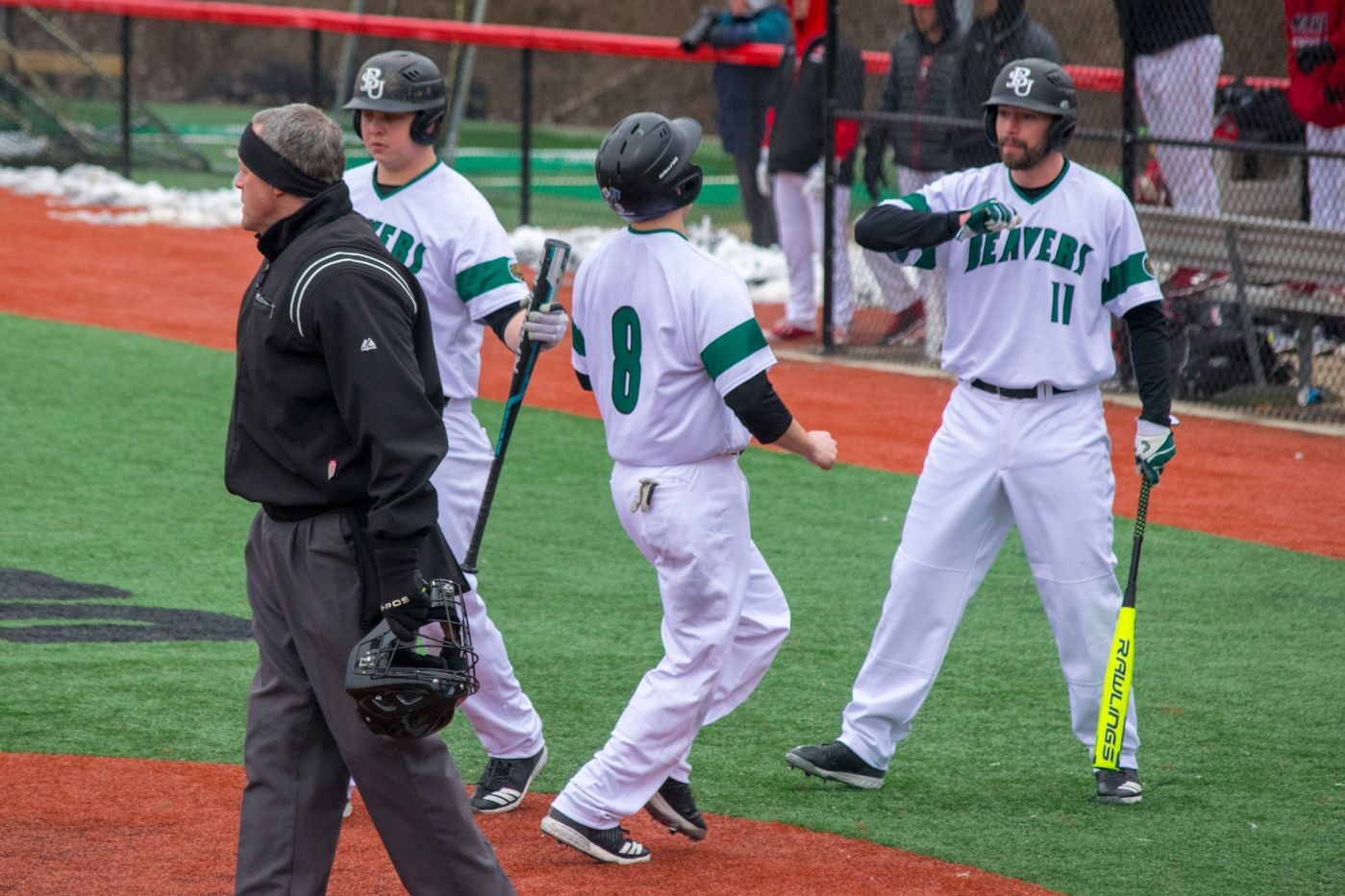 Beavers catch fire in two innings of 13-5 win against Saints