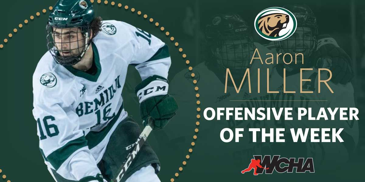 WCHA honors Miller with player of the week award