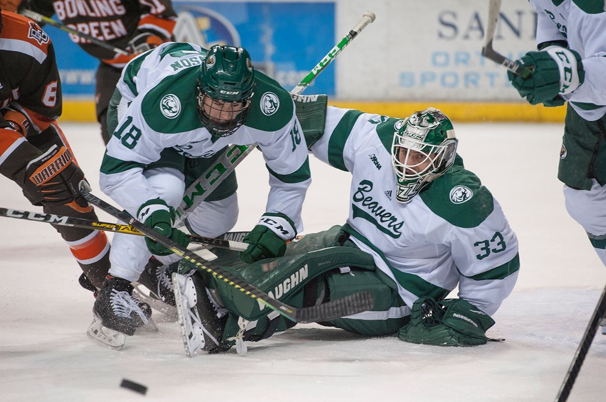No. 16 Beavers blank No. 19 Northern Michigan, 5-0, to open WCHA series