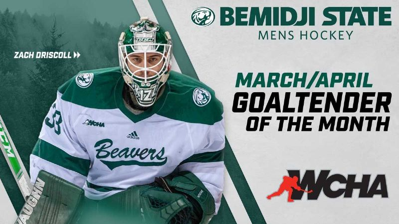 Driscoll caps Bemidji State career with WCHA Goaltender of the Month