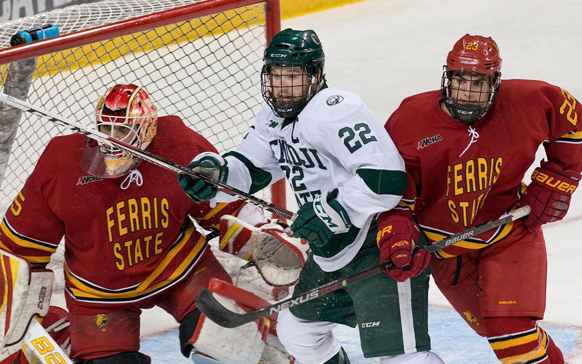 Ferris State rides early two-goal lead to 5-2 victory to open series