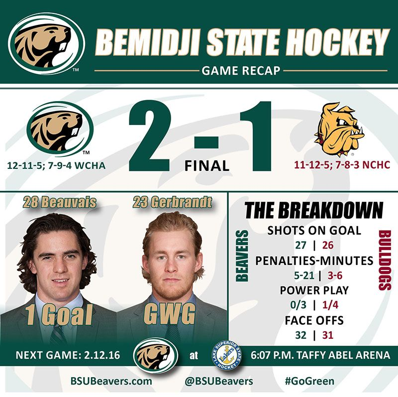 Gerbrandt, Beavers' penalty-kill withstand Bulldogs, 2-1