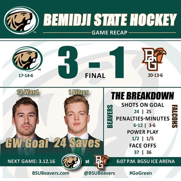 BSU takes 1-0 edge in playoff series with 3-1 victory at Bowling Green