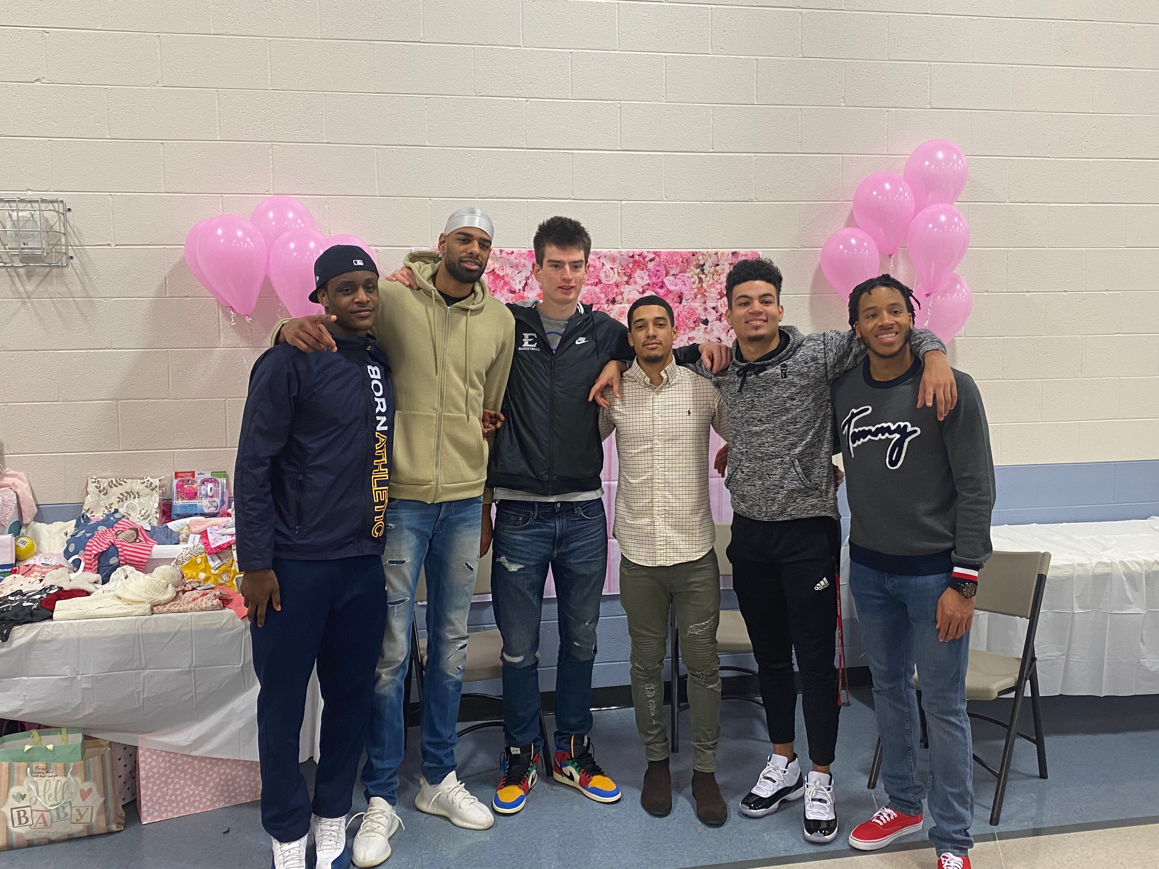 Good's Buccaneer teammates at last month's baby shower.