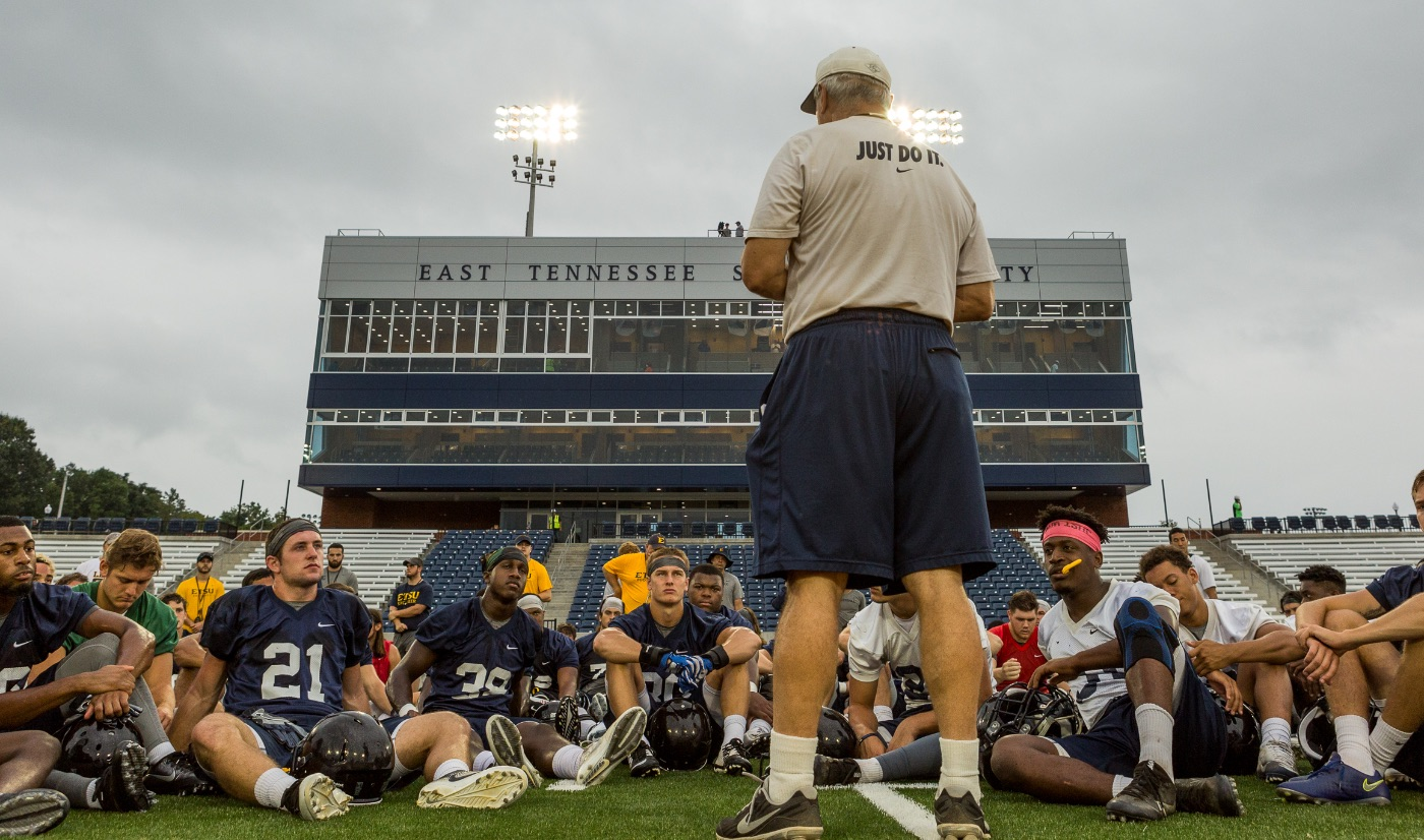 ETSU football holds first practice inside new stadium