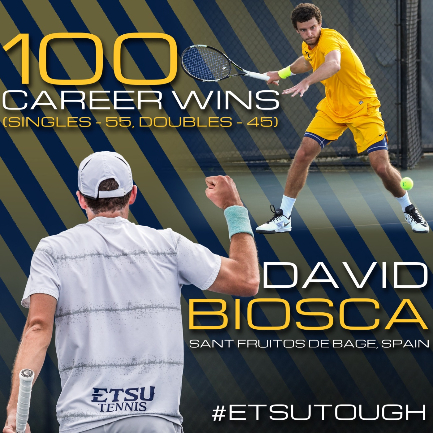 Graphic commemorating David Biosca's 100th career victory at ETSU after he won the doubles match in today's match against MTSU.