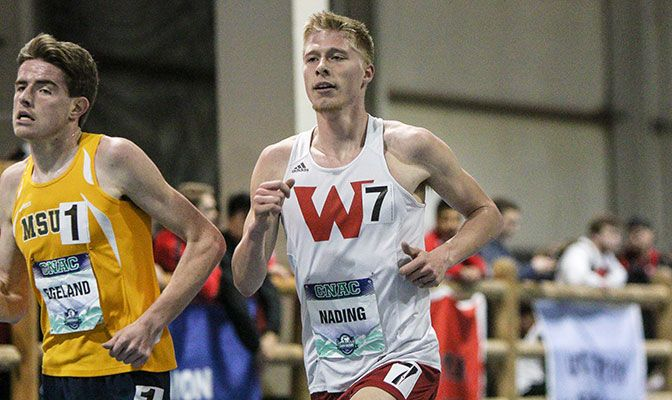 Western Oregon's Dustin Nading led off the national title DMR that ran a time of 9:41.40. Nading also qualified for the finals in the mile. Photo by Loren Orr.