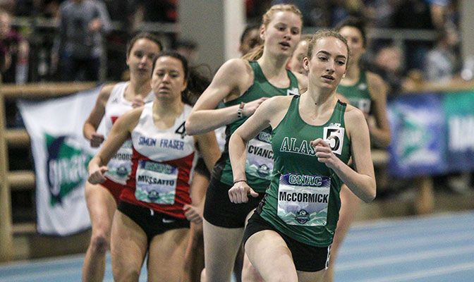 Danielle McCormick won Alaska Anchorage's first women's national title in indoor track and field with her win in the 800 meters. Photo by Loren Orr.