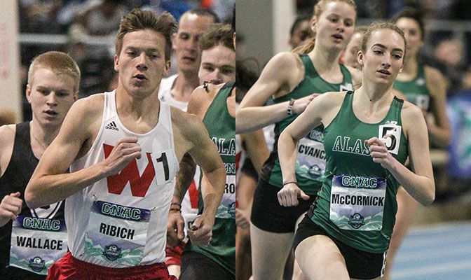 Ribich (left) set Division II all-time records in the 1,000 meters and 3,000 meters while McCormick won the Division II national title in the 800 meters. Photos by Loren Orr.