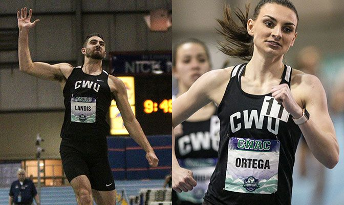 Central Washington's Kodiak Landis (left) set the CWU record in the decathlon while HarLee Ortega set the school record in the heptathlon. Photos by Loren Orr.