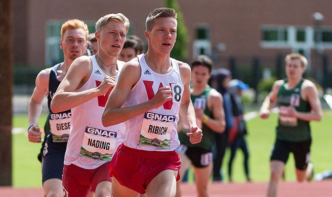 Western Oregon's David Ribich (right) automatically qualified for nationals in the 800 meters while Dustin Nading (left) hit a provisional mark in the 1,500 meters. Photo by Chris Oertell.