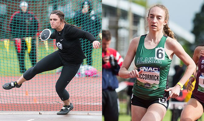 Ausman (left) smashed her GNAC record in the women's discus by 12 feet. McCormick knocked nearly a half-second off her UAA record in the 800 meters.