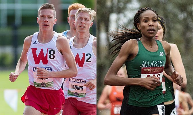 Ribich (left) set the Division II record in the 1,500 meters at the Bryan Clay Invitational while Kurgat set the GNAC record in the 5,000 meters.