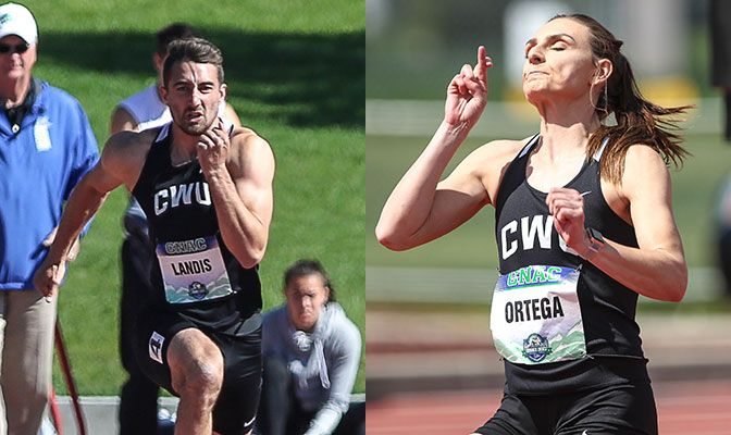 Kodiak Landis (left) set GNAC multi-event meet record in the 100 meters. Ortega leads a heptathlon top-three that is separated by 74 points. Photos by Loren Orr.