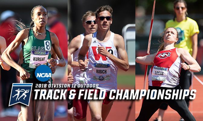 Among the top qualifiers from the GNAC is Alaska Anchorage's Caroline Kurgat (left), Western Oregon's David Ribich (center) and Northwrst Nazarene's Ellie Logan. Photos by Chris Oertell.