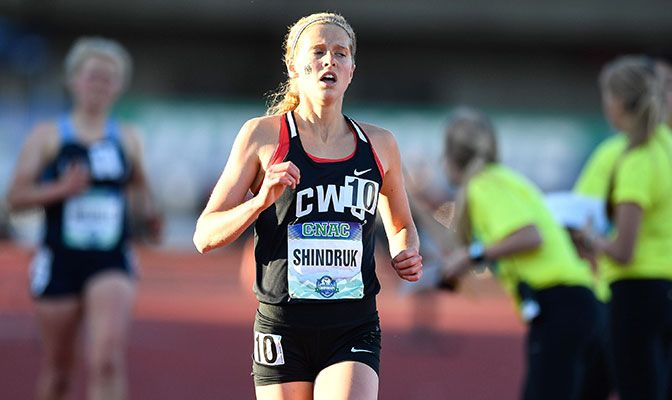 Shindruk placed third in the 10,000 meters at the GNAC Outdoor Championships. Photo by Chris Oertell.