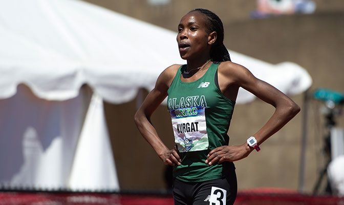 Caroline Kurgat added the West Region Outdoor Female Track Athlete of the Year to her regional cross country award. Photo by Chris Oertell.