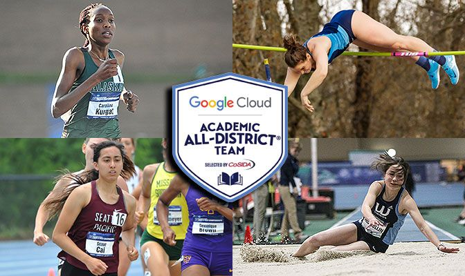 GNAC Selections (Clockwise From Top): Caroline Kurgat (Alaska Anchorage), Anna Paradee (Western Washington), Jasmine McMullin (Western Washington) and Scout Cai (Seattle Pacific).