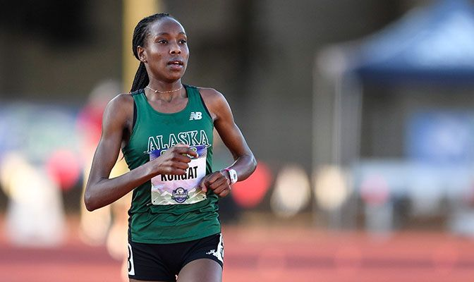 Caroline Kurgat not only won the NCAA Division II cross country title, but also the 5,000 and 10,000-meter titles at the NCAA Outdoor Track Championships. Photo by Chris Oertell.