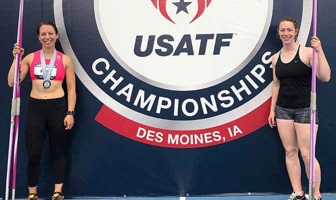 Western Washington alumni Bethany Drake (left) and Katie Reichert were among four former GNAC athletes competing at the USATF Championships. Photo courtesy of Western Washington University.