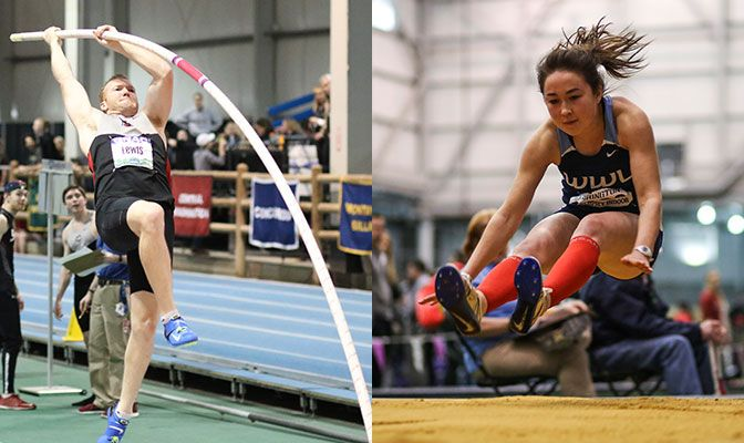Northwest Nazarene's Payton Lewis (left) is competing for his fourth men's pole vault title while Western Washington's Jasmine McMullin seeks her third in the women's triple jump.