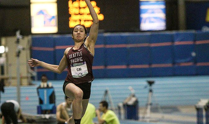 Cai won her second consecutive title in the pentathlon with 3,610 points and provided SPU with 29 of the team's 59 points. Photo by Loren Orr.