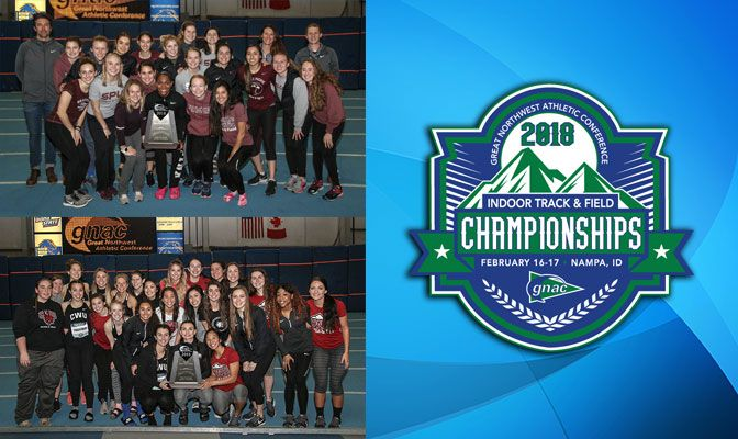 Both Central Washington and Seattle Pacific scored 136 points. It is the first indoor team title for the Wildcats and the Falcons win their 12th. Photos by Loren Orr.