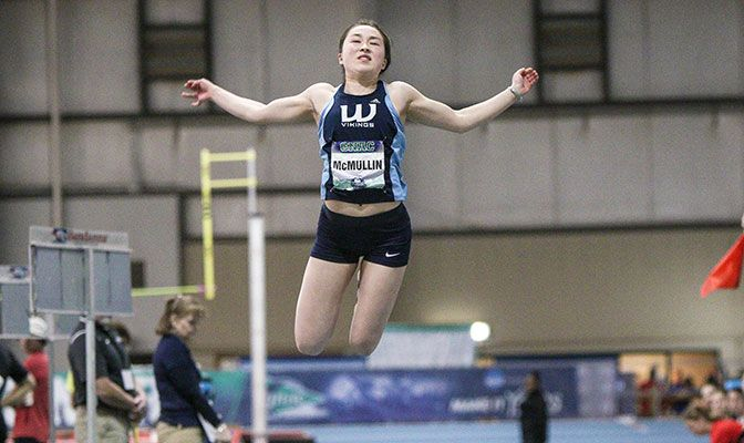 Western Washington's Jasmine McMullin used the GNAC Championships to earn an NCAA Championships automatic qualifier in the triple jump. Photo by Loren Orr.