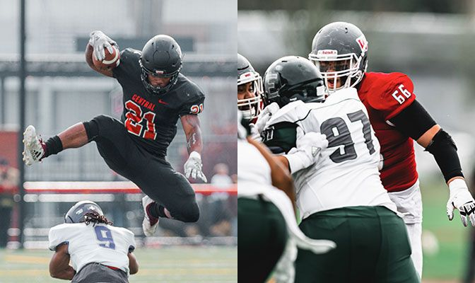 Michael Roots (left) led the GNAC and was eighth in Division II in rushing. Gonzales was the GNAC Co-Offensive Lineman of the Year.