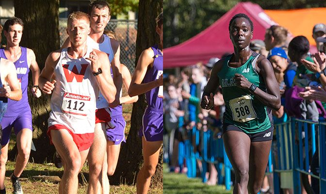 Western Oregon senior Dustin Nading (left) and Alaska Anchorage's Emmah Chelimo both finished eighth in last year's GNAC Championships. Both hope to lead teams to titles again in 2018.
