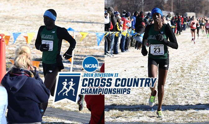 Alaska Anchorage's Felix Kemboi (left) finished second in West Regional men's race while the Seawolves' Emmah Chelimo won the women's individual title.