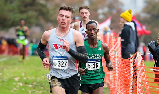 Kirui, the GNAC champion, finished ninth at the national meet in a time of 32:35.1. Photo courtesy of Slippery Rock Athletics.