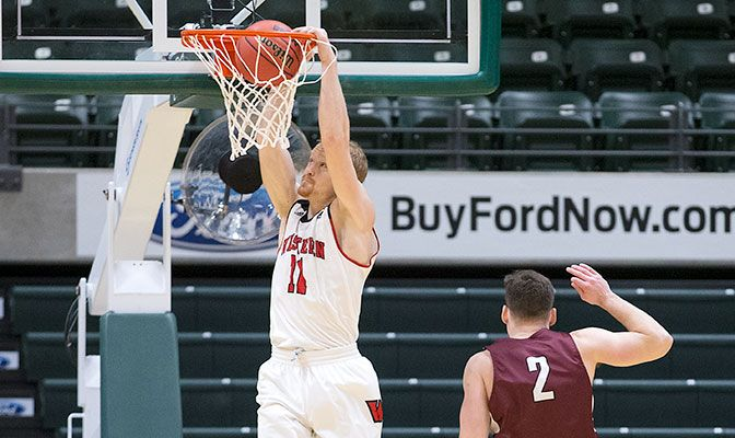 Tanner Omlid finished with 23 points on 10 of 16 from the field. He also tied the GNAC Championships single-game record with four steals. Photo by Skip Hickey.