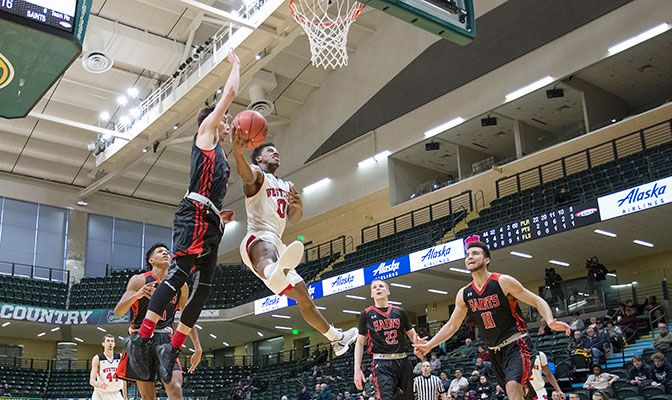 A win by both GNAC teams in the NCAA West Regional would pit the Wolves and Saints in a rematch on the GNAC Championships final. Photo by Skip Hickey.