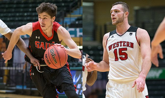 Luke Chavez (left) led Saint Martin's with 43 points in three GNAC Championships games while Vince Boumann scored 33 for WOU to earn tournament MVP honors. Photos by Skip Hickey.