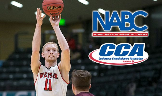 Tanner Omlid joins Andy Avgi (2016) as Western Oregon's only men's basketball All-Americans in the GNAC era. Photo by Skip Hickey.