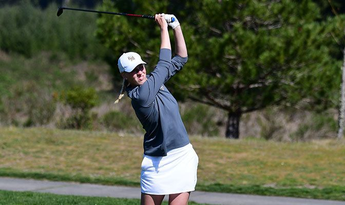 Tierney Messmer is one of two players on the GNAC Women's Golf All-Academic Team with a 4.00 GPA. Photo by Ron Smith.