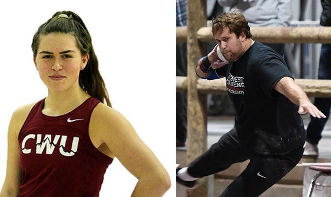 Irvine (left) set the GNAC record in the women's pole vault at the Jackson's Open at 12 feet, 10.75 inches. Knight set the NNU record in the men's shot put at 56 feet,  8.5 inches.