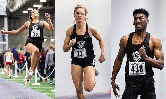 Chelsea Bone (left) and Macie Allen (center) both picked up NCAA Championships provisional qualifying marks in their respective events while Adam Brown ran a conference-leading time in the 200 meters.