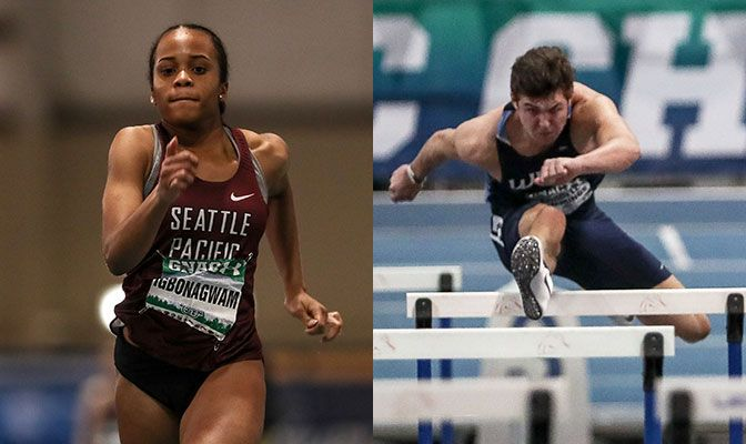 Peace Igbonagwam (left) helped lead the SPU women with a championship and GNAC record in the long jump. Cordell Cummings captured the 60-meter hurdles title to help lead WWU. Photos by Loren Orr.