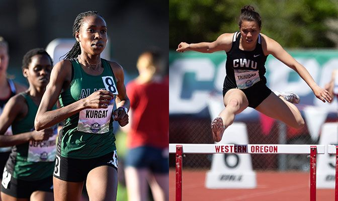Caroline Kurgat (left) broke her own GNAC record in the 5,000 meters while Sidney Trinidad established a GNAC record in the 400-meter hurdles.