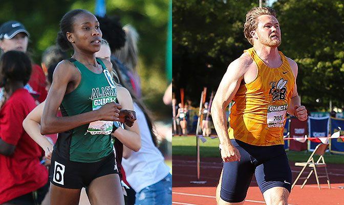 Kurgat (left) earned all-region honors in the 800 meters, 1,500 meters, 5,000 meters and 10,000 meters. Zook is all-region in the 100 and 200 meters and the 4x100 relay. Photos by Gary Breedlove.