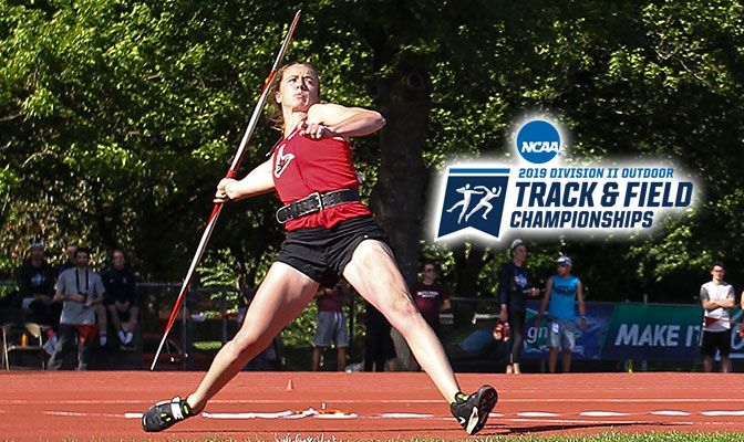 Northwest Nazarene senior Ellie Logan leads six GNAC athletes to qualify for nationals in the women's javelin. Photo by Gary Breedlove.